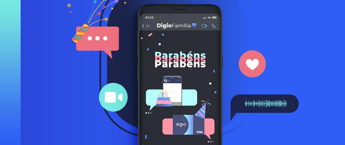 Conta Digital e cartão virtual do Digio fazem aniversário